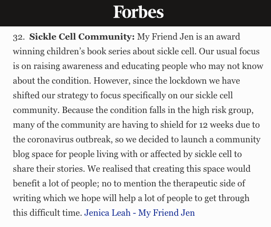 Sickle Cell Community Blog in Forbes